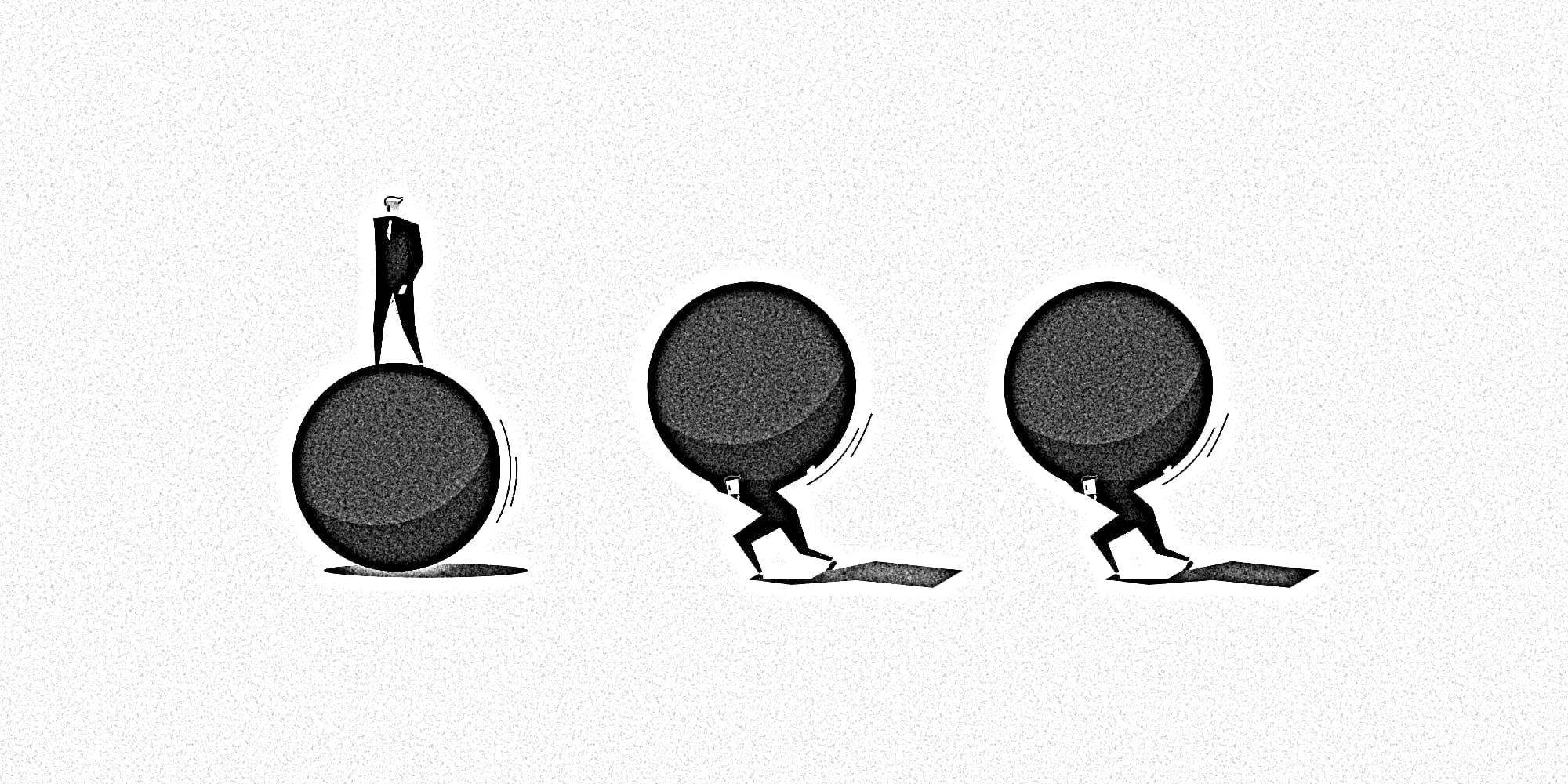 Grafische Darstellung dreier Menschen, einer läuft einer einer großen Kugel, zwei  Menschen tragen schwer an je einer.