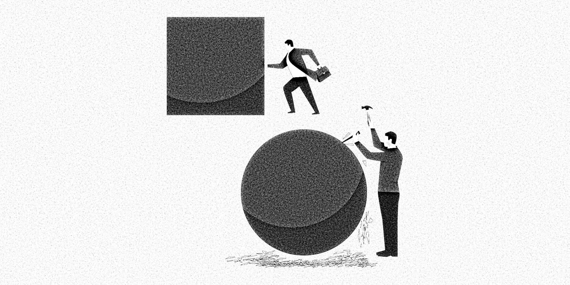 Grafische Darstellung eines Menschen, der ein großes Quadrat vor sich her schiebt, während ein zweiter Mensch das Quadrat zu einer Kugel formt, ehe er losläuft.