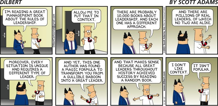 Dilbert-Comic über das eine Managementbuch.