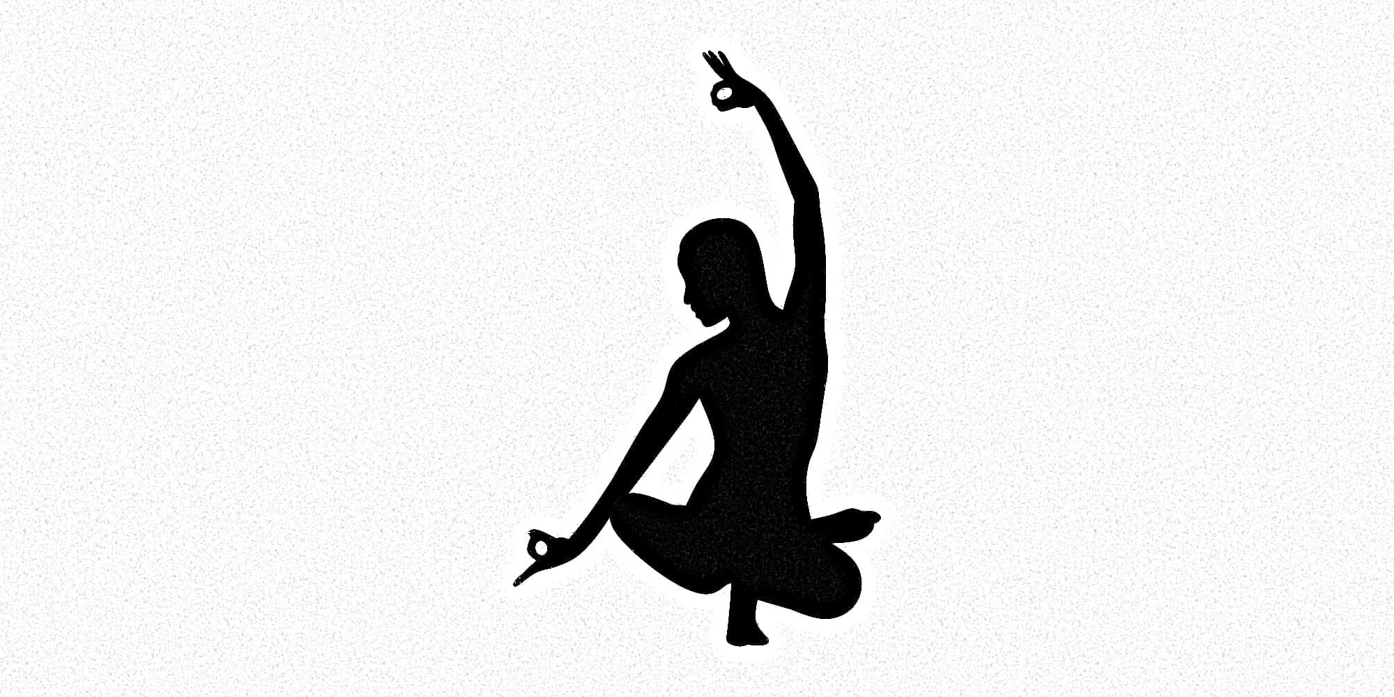 Schlagschatten einer Yoga-Übung.