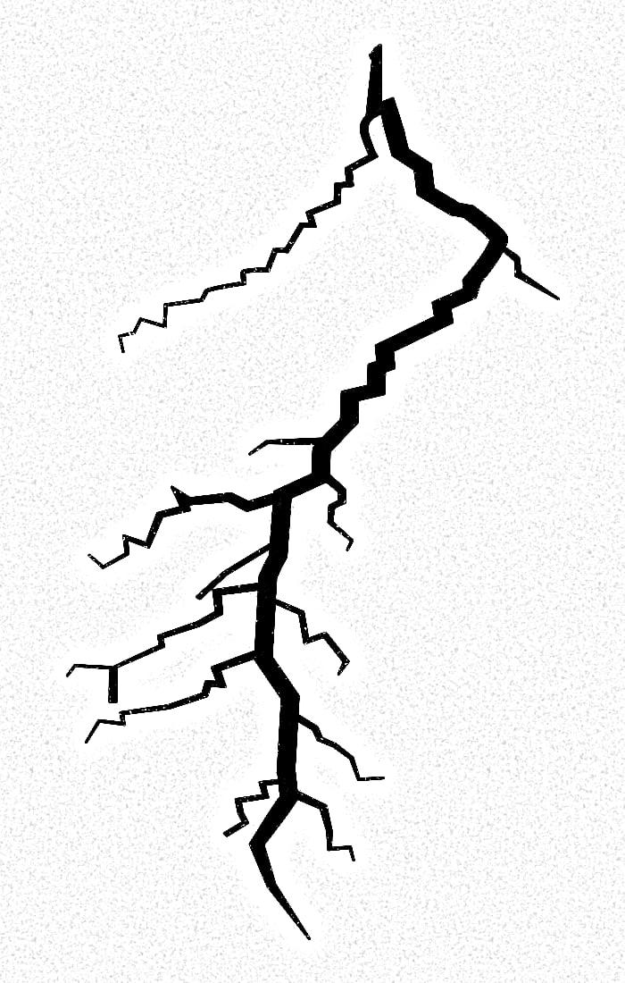 Stilisierter Blitz mit vielen Zacken.